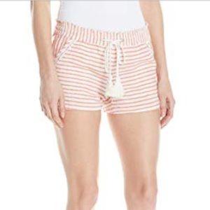 Jolt Linen Blend Tan & White Striped Shorts